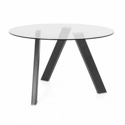 Runder Esstisch Durchmesser 120 cm in Glas- und Metalldesign - Tonto