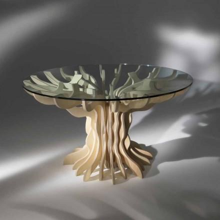 Runder Esstisch Cassia mit glastischplatte