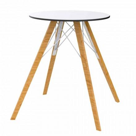 Runder Esstisch aus Holz und HPL-Platte, 4 Stück - Faz Wood von Vondom