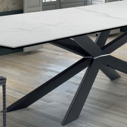 Design Esstisch aus Ipermarmor r und schwarzem Stahl – Grotta