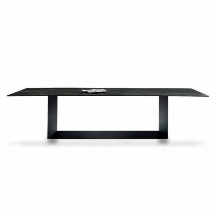Designtisch aus Matt Noir Desir Keramik und Metall Made in Italy - Dunkelbraun
