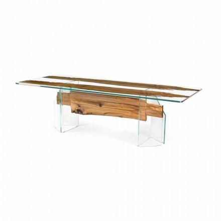 Tisch aus Briccola Holz und Glas rechteckig in modernem Design Venezia