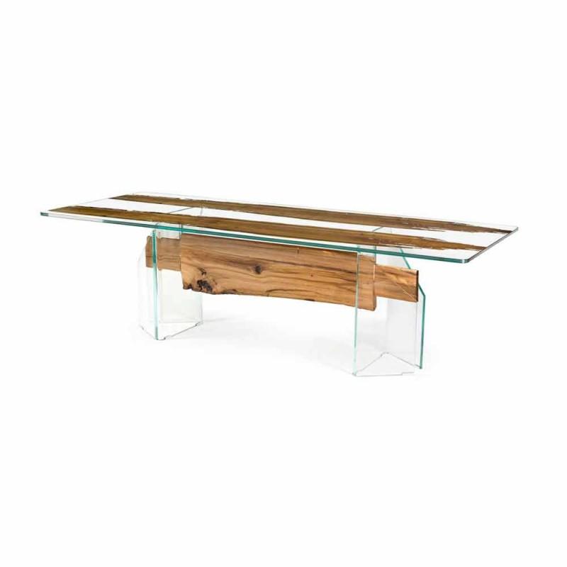 Delphin Holz-Design Tisch und Venedig venezianischem Glas