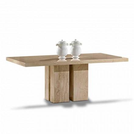 Luxustisch mit modernem Design, Platte aus Daino-Marmor Made in Italy - Zarino