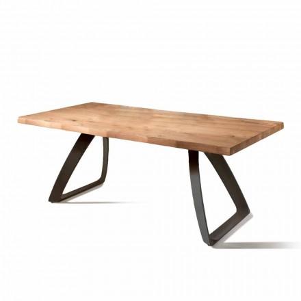 Tisch aus Furnierholz Eiche und Metall schwarz Logan