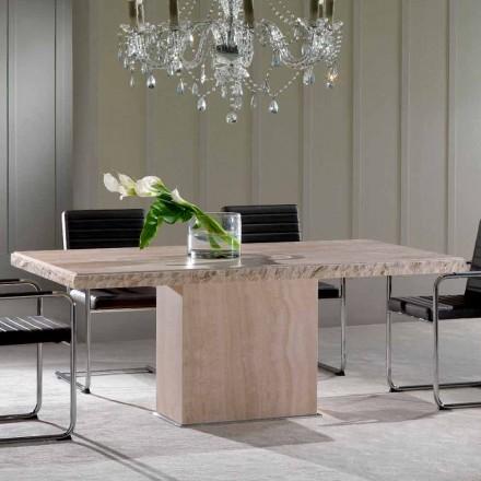 Fester Tisch aus Travertinstein mit Borte aus Stein Narciso