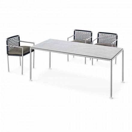 Modernes Design Outdoor Stahl und Quarz Tisch Made in Italy - Ontario7