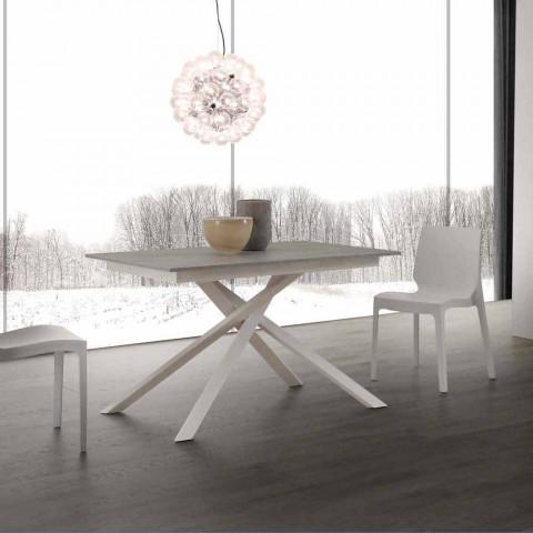 Holztisch ausziehbar bis 190 cm mit gekreuzter Lecce Basis
