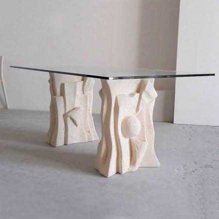 Tisch aus Stein mit Kristall Tischplatte in modernem Design Priamo