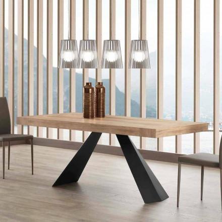 Moderner esstisch ausziehbar bis 260/280 cm aus Holz und Metall Teramo