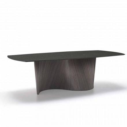 Moderner Esstisch mit Steingutplatte in Marmor Effekt made in Italy, Adrano