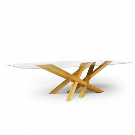 Moderner Esstisch aus Glas und natürlichen Eischenholz made in Italy Acciano
