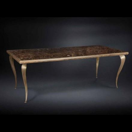 Tisch im neoklassischen Stil aus Massivholz mit Marmorplatte Adam