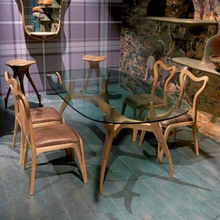 Ovaler Esstisch aus glänzendem Mahagoni, Design, 197x109 cm, Fraco