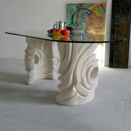 Esstisch oval aus Stein mit Tischplatte aus Kristall Erinni
