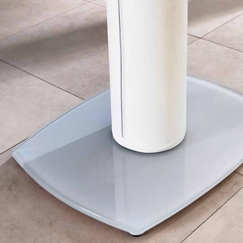 Ausziehbarer Esstisch aus Glas und Kunstleder, L120 / 180xP90cm, Lelia
