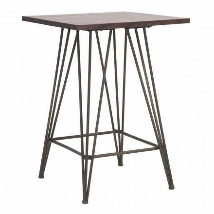 Industrieller Hochquadrat-Tisch aus Eisen und Holz - Helle