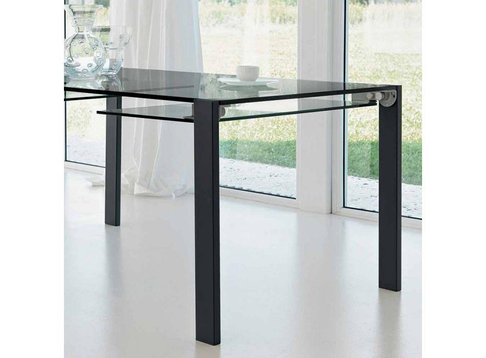 Ausziehbarer rechteckiger Tisch aus transparentem Glas Made in Italy - Sopot