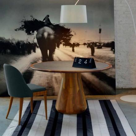 Runder Tisch mit Tischplatte, massives natürliches Nussholz, Carlo