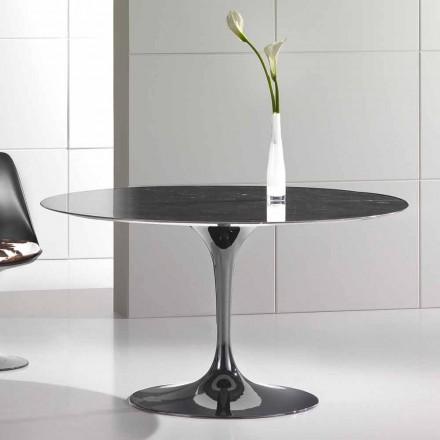 Runder Esstisch aus hochwertigem Marquinia-Marmor Made in Italy - Nerone