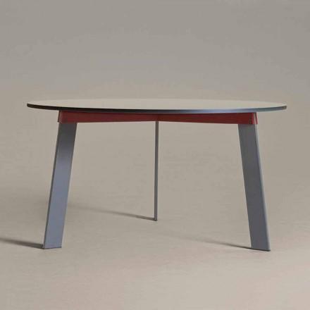 Runder Tisch mit modernem Design aus Stahl und farbig lackiertem MDF - Aronte