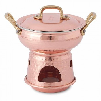 Abgerundete Pfanne für Sauce in handverzinntem Kupferboden und Deckel - Gianmatteo