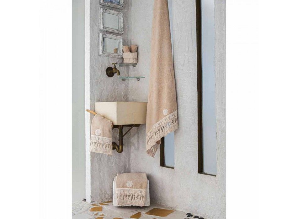 Baumwolle Terry Badetuch mit italienischer Luxus Quaste Spitze - Arafico