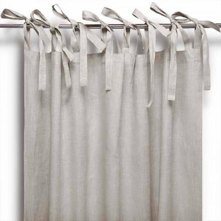 Vorhang mit Schnüren aus reinem Leinen naturton Made in Italy – Daiana