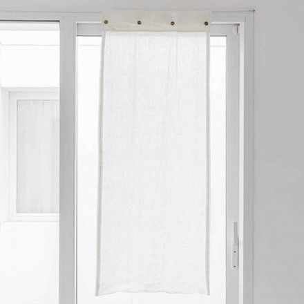 Weißer Vorhang aus hellem Leinen und Perlmuttknöpfen - Georgette