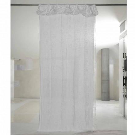 Vorhang aus weißem Leinen und Organza mit eleganter Rosenstickerei - Mariarosa