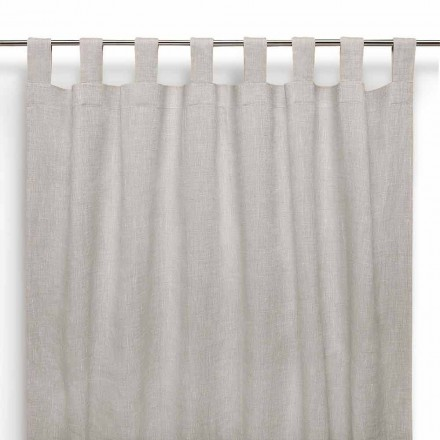 Vorhang mit Knopflöchern aus reinem Leinen in naturton  – Solenne