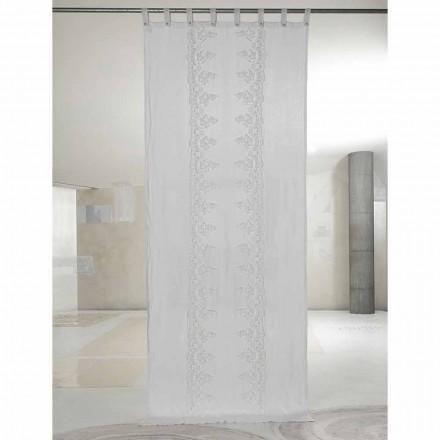 Weißer und heller Leinenvorhang mit zentraler Spitze, elegantes Design - Geogeo