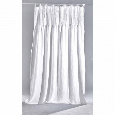 Weißer heller Leinenvorhang mit geripptem, italienischem Qualitätsdesign - Tafta