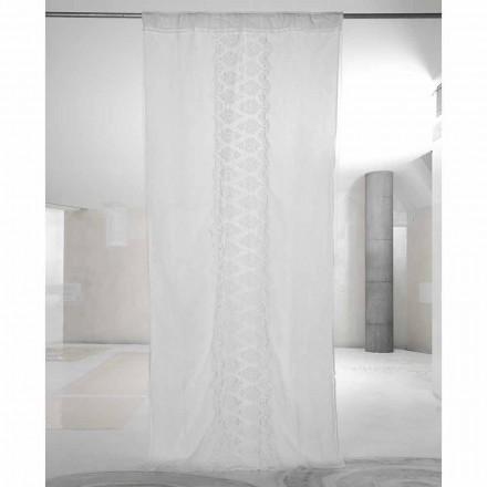 Weißer Leinenvorhang mit Organza und Stickerei Italienischer Luxus - Marinella
