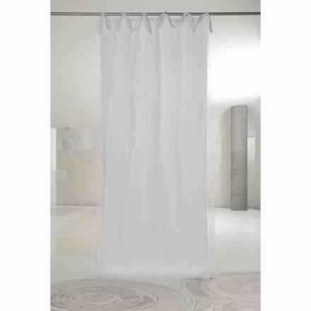 Weißer Leinen- und Organza-Vorhang mit Laschen, Luxus-Design Made in Italy - Ariosto