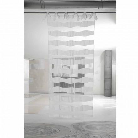 Vorhang aus weißem Leinen und Organza mit Stickerei von elegantem Design - Oceanomare