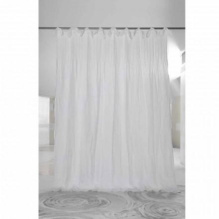 Weißer Rippenvorhang aus Leinen und Organza, italienisches Luxusdesign - Karnak