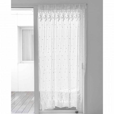 Weißer Tüllvorhang mit Tupfen und Blumenstickerei, Design - Eucariota