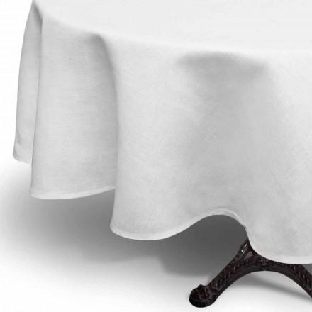 Runde Tischdecke aus reinem Leinen cremeweiß Made in Italy - Blessy