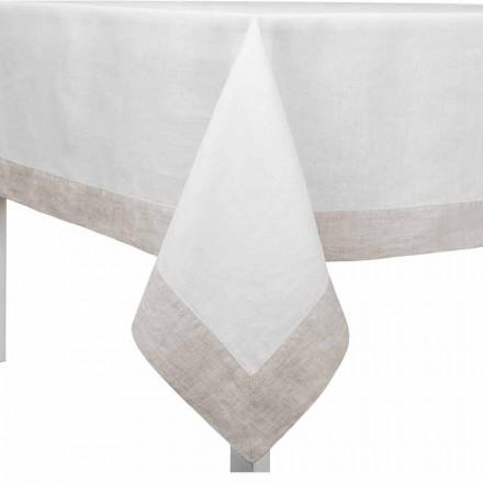 Tischdecke aus Leinen weiß und naturton, rechteckig oder quadratisch - Poppy