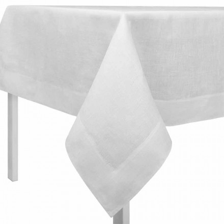 Rechteckige oder quadratische Tischdecke aus Leinen cremeweiß – Poppy