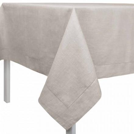 Rechteckige oder quadratische Tischdecke aus Leinen naturton – Chiana