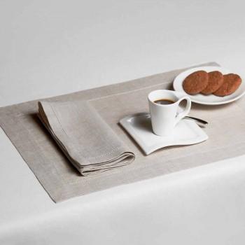 Amerikanisches Tischset aus reinem Weiß oder natürlichem Leinen Made in Italy - Chiana