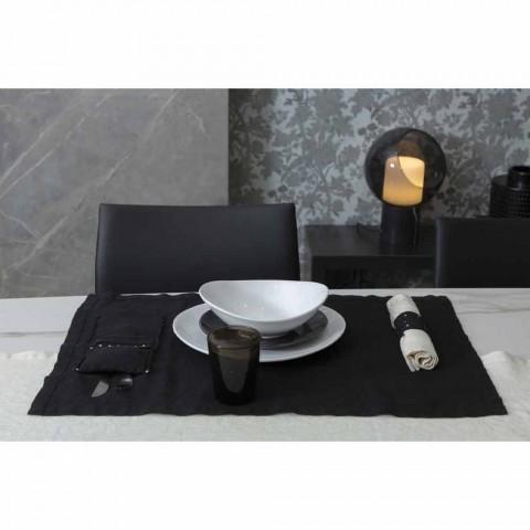 Amerikanische Tischsets und Besteckschalen mit Kristallen aus schwarzem Leinen, 4 Stück - Nabuko