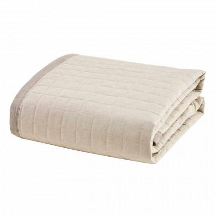 Frühlingsbettdecke für Doppelbett aus elfenbeinfarbener Baumwolle - Vitaleta