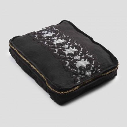Große Hose aus Leinen und Baumwolle mit Farnese-Spitze und Reißverschluss, 2 Oberflächen - Mike