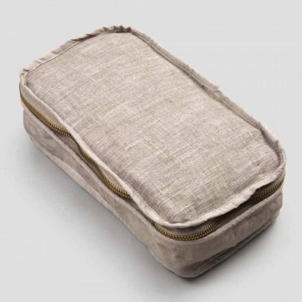 Kosmetiktasche Frau in Leinen und Baumwolle Kreide oder Rücken mit Reißverschluss - Rippel