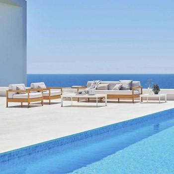 Varaschin Bali modernes 3-Sitzer-Outdoor-Sofa aus massivem Teakholz