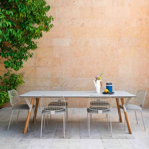 Esstisch Tischbeine in Teak H 75 cm