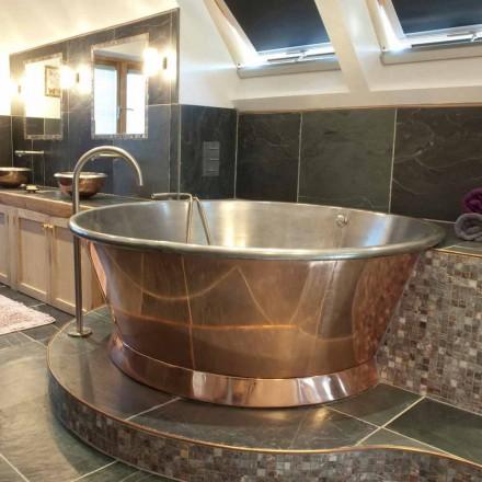 Freistehende Badewanne aus Kupfer rund in modernem Design Vanessa